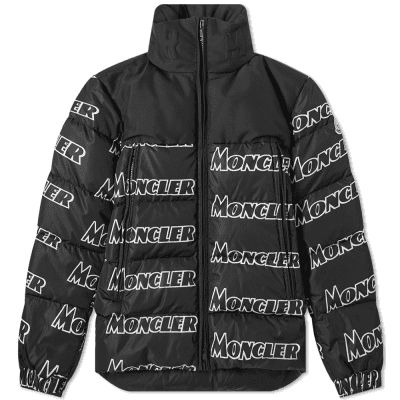 d25bb445daf0 Moncler Faiveley All Over Logo Print Down Jacket