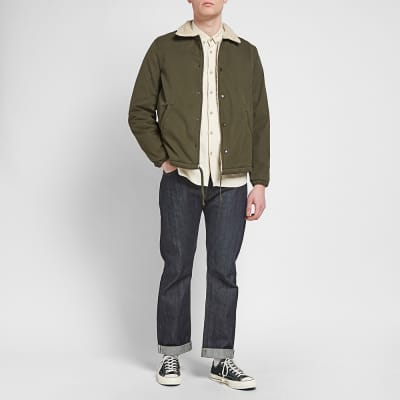 Save Khaki Sherpa Lined Warm Up Jacket