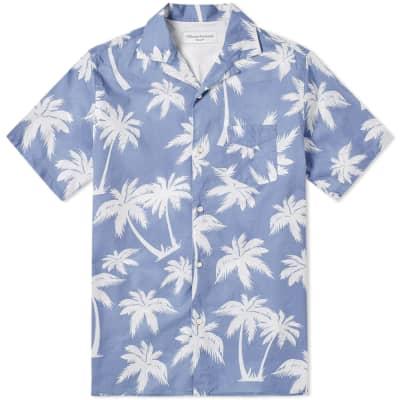 Officine Generale Short Sleeve Dario Palm Print Shirt