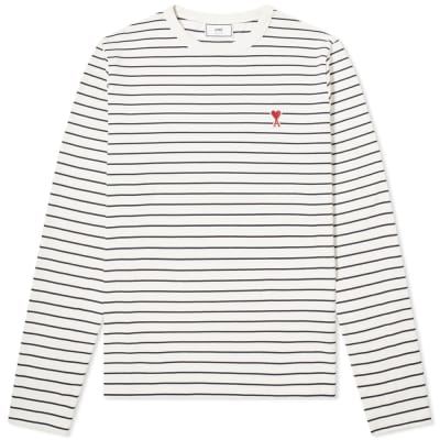 AMI Long Sleeve Heart Logo Stripe Tee