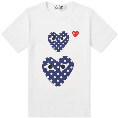 Comme des Garcons Play Polka Dot Twin Heart Tee