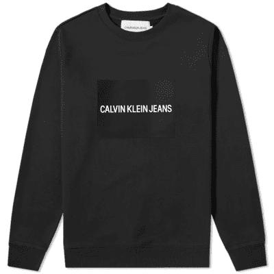Calvin Klein Institutional Rubbed Box Logo Crew Sweat