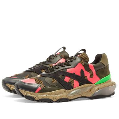 Valentino Neon Camo Overlayed Bounce Sneaker