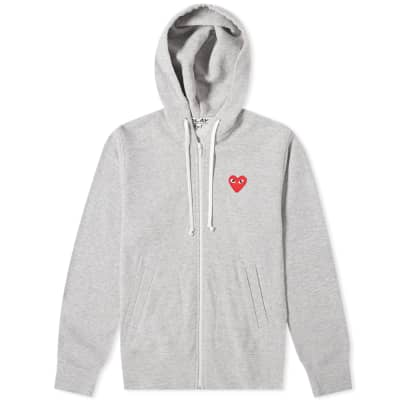 Comme des Garcons Play Women's Red Heart Full Zip Backprint Hoody