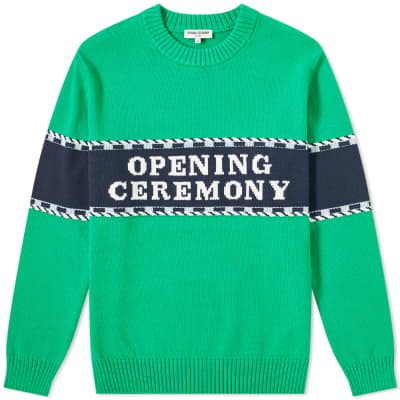 Opening Ceremony Logo Stripe Crew Knit