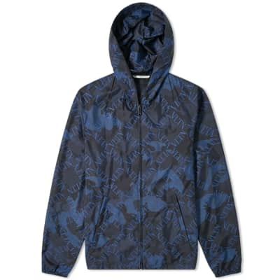 Valentino VLTN Grid Print Camo Hooded Windbreaker