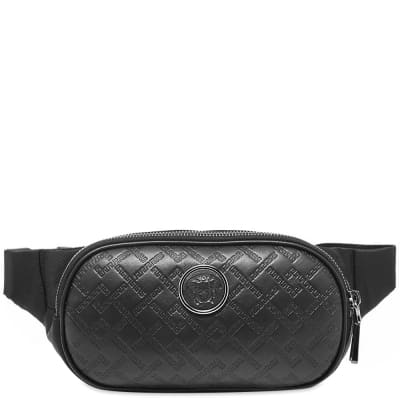 Versace Leather Embossed Greek Logo Waist Bag