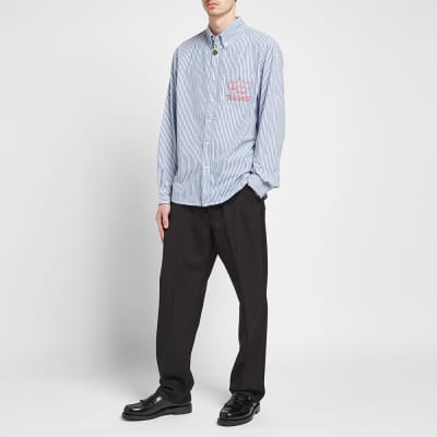 Thames Striped Poplin Logo Pocket Shirt