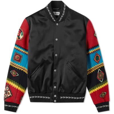 Saint Laurent Ethnic Patch Satin Teddy Jacket