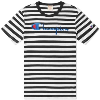 Champion Reverse Weave Stripe Script Logo Tee