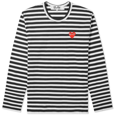 Comme des Garcons Play Long Sleeve Heart Logo Stripe Tee