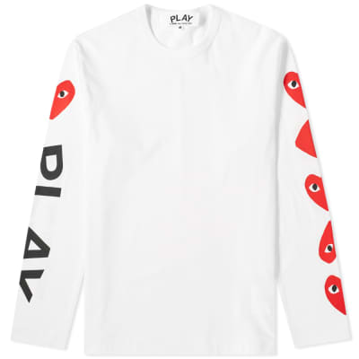 Comme des Garcons Play Long Sleeve Multi Heart Logo Tee