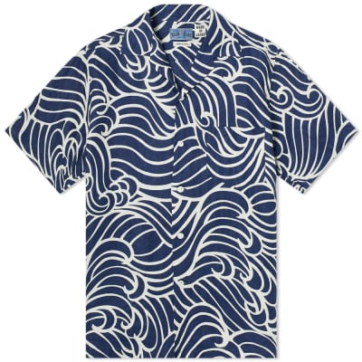 Blue Blue Japan Wave Print Linen Vacation Shirt