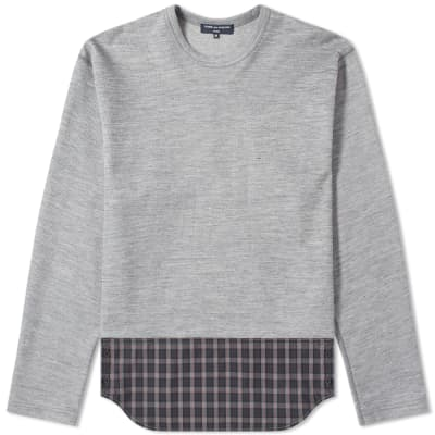 Comme des Garcons Homme Long Sleeve Logo Print Panel Tee