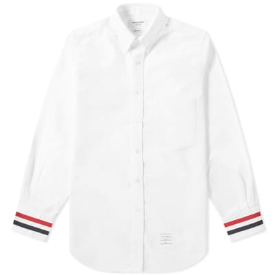Thom Browne Grosgrain Cuff Button Down Oxford Shirt