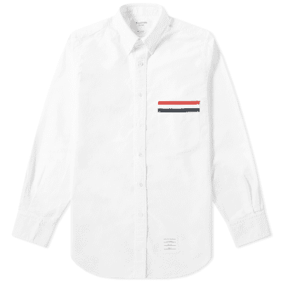 Thom Browne Grosgrain Pocket Button Down Oxford Shirt