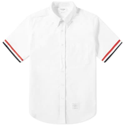 Thom Browne Short Sleeve Grosgrain Cuff Shirt