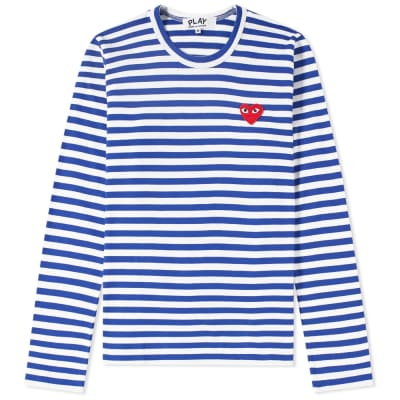 Comme des Garcons Play Women's Long Sleeve Heart Logo Stripe Tee