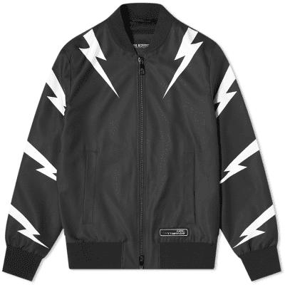 Neil Barrett Tiger Bolt Satin Bomber Jacket