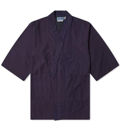 "Blue Blue Japan Stitched ""Sashiko"" Farmer Kimono"