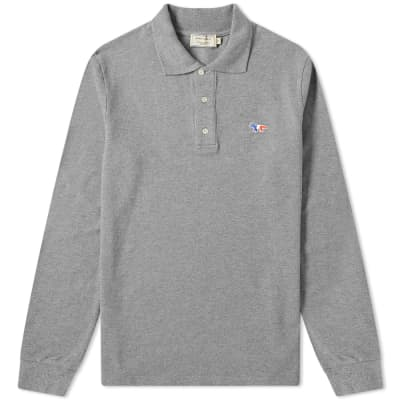 Maison Kitsuné Long Sleeve Tricolour Fox Patch Polo