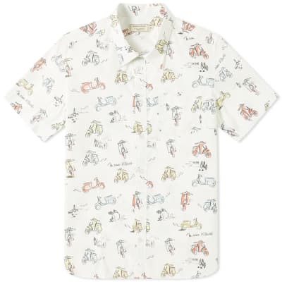 Maison Kitsuné Short Sleeve All-Over Scooter Print Shirt