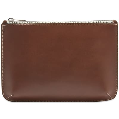 A.P.C. Jacob Leather Zip Logo Pouch
