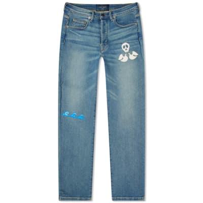 Lost Daze Straight Leg Skull Doves Painted Jean