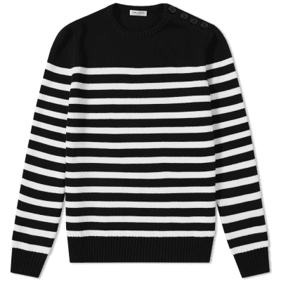 Saint Laurent Stripe Button Crew Knit