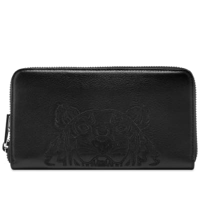 Kenzo Long Zip Embroidered Leather Wallet