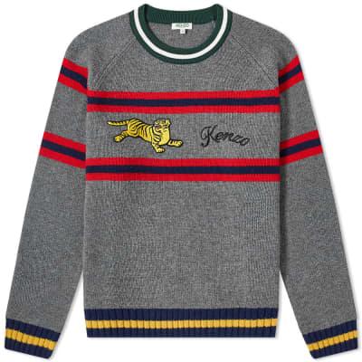 af0e4f5f0 Kenzo Striped Jumping Tiger Knit