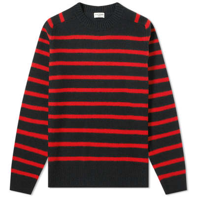 1048eb1c281 Saint Laurent Wool Felt Stripe Crew Knit