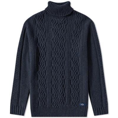 Bleu de Paname Irish Cable Roll Neck Knit