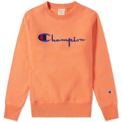 480912c1 Champion Reverse Weave Script Logo Crew Sweat