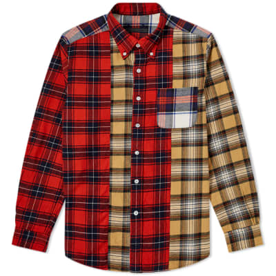 SOPHNET. Mix Flannel Check Shirt