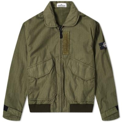 Stone Island Reflective Weave Zip Bomber Jacket