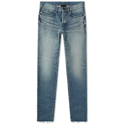 Saint Laurent Slim Fit Raw Edge Bandana Jean