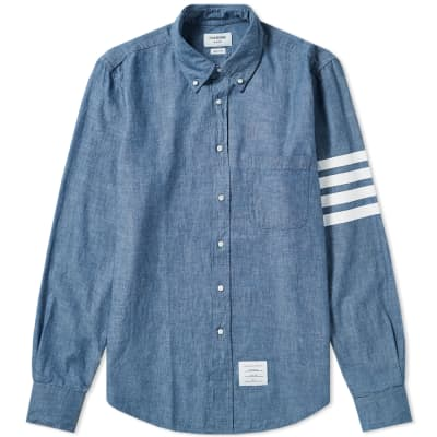 Thom Browne 4 Bar Button Down Chambray Shirt