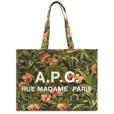 A.P.C. Floral Print Logo Shopper Bag
