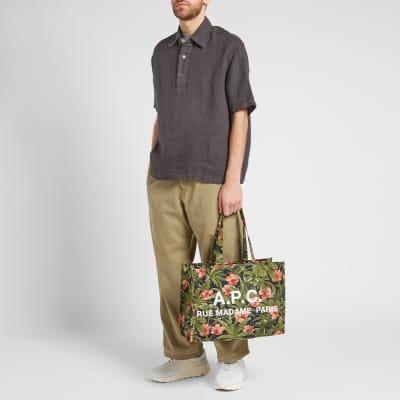 A.P.C. Floral Print Logo Shopper Bag