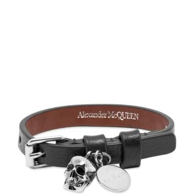 Alexander McQueen Stud Single Wrap Skull Bracelet