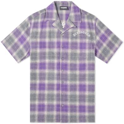 PLEASURES Short Sleeve Shadow Plaid Vacation Shirt