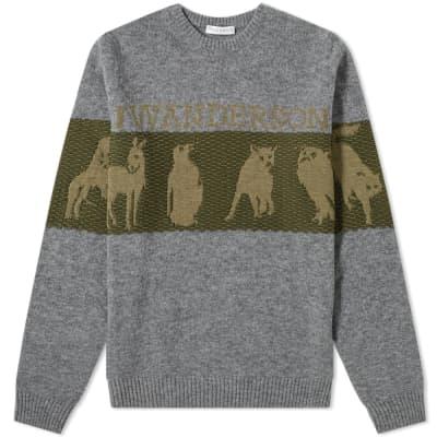 JW Anderson Animal Logo Intarsia Crew Knit