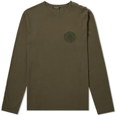 Balmain Long Sleeve Embroidered Coin Button Tee