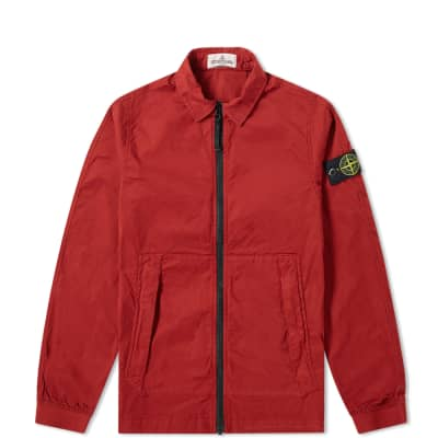 Stone Island Junior Zip Through Garment Dyed Shirt Jacket