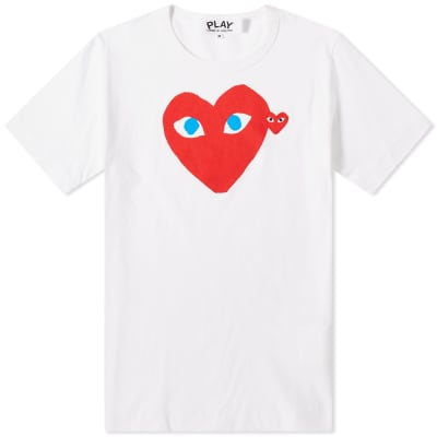 Comme des Garcons Play Double Heart Logo Tee