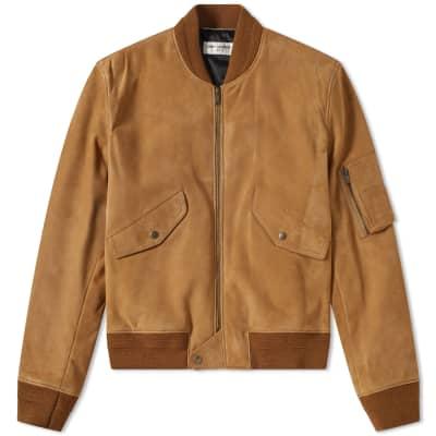 Saint Laurent Suede MA-1 Bomber Jacket