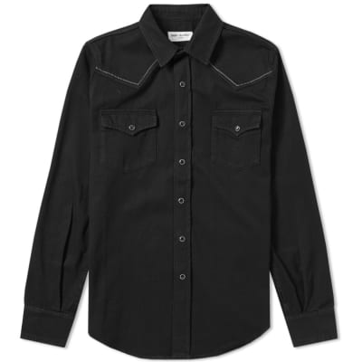 Saint Laurent Yolk Embroidery Western Denim Shirt