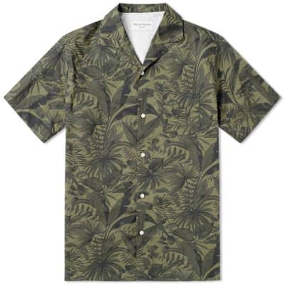 Officine Generale Short Sleeve Jungle Print Shirt