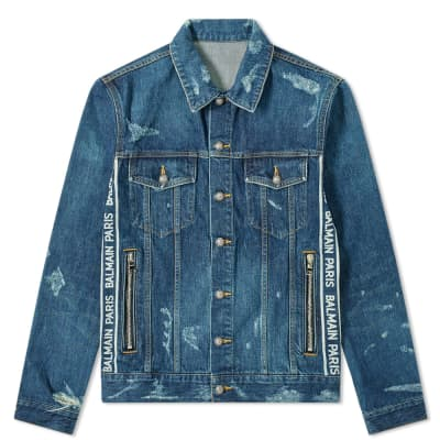 Balmain Taped Logo Distressed Denim Jacket